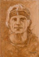 50 - _ Autoportrait Jean-Claude Bobin Grisaille - 42 x 28 cm Huile sur toile - 2019-min
